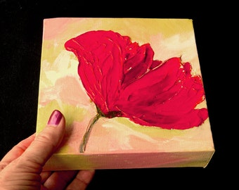 Impasto Poppy on Canvas, Red Poppies, 6 x 6 inches, Small Space Wall Art, Acrylic Original Painting, Gift For Boss, Office Art, Feminine