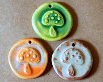 3 Handmade Ceramic Mushroom Beads - Handmade Ceramic Pendants with Rustic Hippie Style Mushrooms - Handmade Supplies