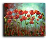 Gallery Canvas and Fine Art Prints Red Poppies Flowers Landscape Still Life Garden Botanical Elena