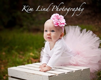 Soft Pink Toddler Baby Girl Tutu and Headband Set - Great Photo Prop