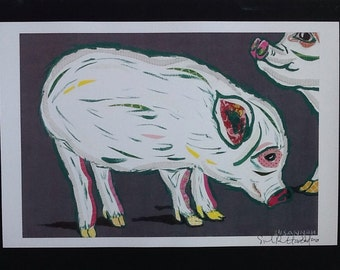 Little White Pigs Limited Edition Print from Original Painting Collage