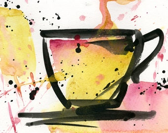 """Coffee Cup painting, Colorful Abstract Coffee watercolor art, Original ooak painting """"Coffee Dreams 2""""  by Kathy Morton Stanion  EBSQ"""
