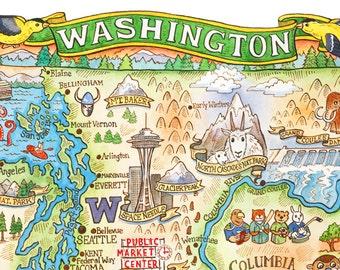 "Washington State Map 11""x14"" Art Print"