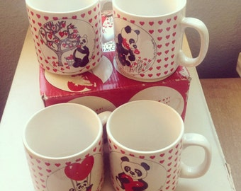 Vintage Hearts Bears Mugs Panda