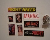 HORROR fridge magnets Night Breed Evil Dead 2 Maniac Prom Night made from recycled VHS covers cool cheap gift