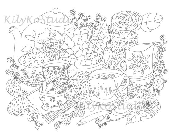 tea time coloring page digital download strawberry tea