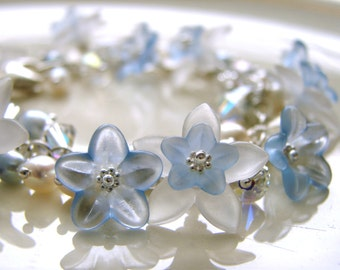 Baby Blue Lucite Flowers Bracelet - Lucite Flowers, Crystals and Pearls with Sterling Silver - Bridal Jewerly - Something Blue