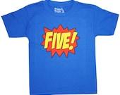 Kids SUPERHERO Fifth Birthday T-shirt
