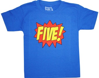 Kids SUPERHERO Fifth Birthday T-shirt