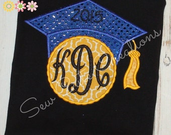 Personalized graduation cap shirt Girls boutique short sleeve long custom embroidered sew cute creations
