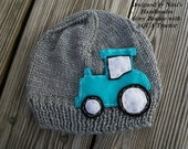 Knit Grey Tractor Hat, boys hats, boys accessories, boys tractor beanie, baby accessories, baby, hat, grey hat, toddler hats, blue tractor