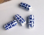 Porcelain Beads, Basket Weave Beads, Blue and White Beads, Destashed Beads, Etsy, Etsy Jewelry, Etsy Supplies