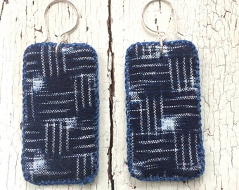 Vintage Indigo Kasuri Textile Earrings with Sterling Ear Wires