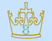 King / Prince Crown with Applique 8 Number Machine Embroidery Design File