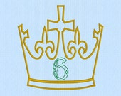 King / Prince Crown with Applique 6 Number Machine Embroidery Design File