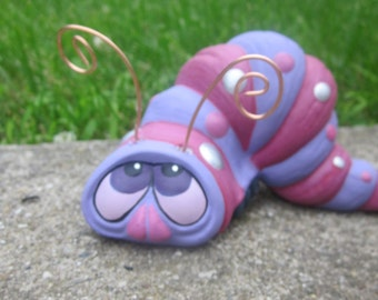 Ceramic Inch Worm- Yard art- Cute purple worm - Copper antennae - Spotted worm sculpture - Outdoor Decoration - Gift for Mom - Spring Decor