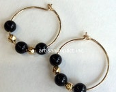Gold filled earrings, black stone earrings, small hoop earrings, black beads earrings, onyx earrings, hoop earrings - Drama queen E8008