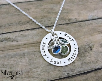 HandStamped Sterling Silver Washer Necklace - Personalized Jewelry for Mom with 4 Birthstones