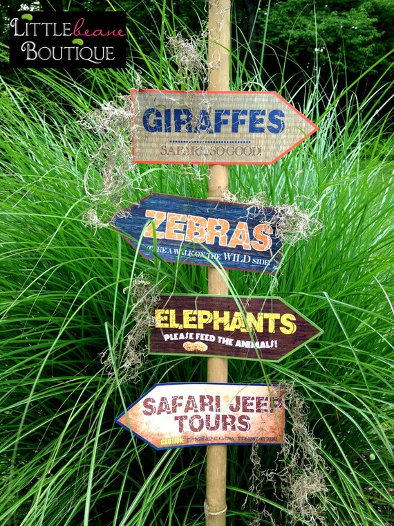 Printable safari jungle signs diy african safari party for African party decoration ideas