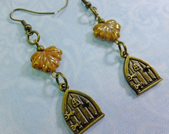 Fantasy Dangle Earrings Antique Brass Fairy Door Charms with Brown Glass Leaf Beads with Fish Hook Earwires