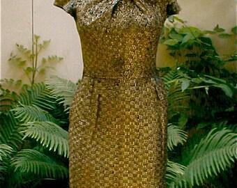 Bronze Bombshell Dress - Vintage 40s Wiggle Dress - Hollywood Siren - Metal Gold Thread Woven Fabric