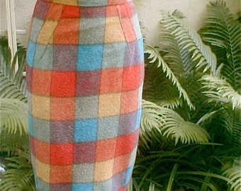 Big Plaid Wool Pencil Skirt - High Waist   Boxed Kick Pleat - Bright Turquoise Ochre Red and Olive  Woven Woolen Fabric - Fully Lined