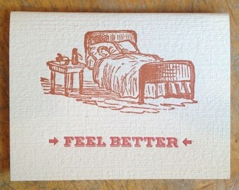 feel better letterpress card blank recycled paper hand printed