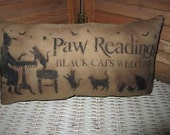 Primitive Stenciled Pillow - Paw Readings - Halloween