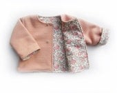 Tuppence baby wool coat, peony pink, Liberty of London lining, woollen jacket - 3-9m