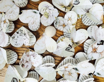 """Paper hearts garlands, WHITE PEONY and ROSES Hearts, paper garland, rustic wedding garland, bridal shower, ivory, off white, from 40""""+"""