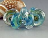 Lampwork Glass Beads, Handmade lampwork bead set, jewelry supplies, lampwork spacer bead, artist lampwork, Neptune's Dream