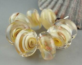 Champagne Swirl,8 Handmade Lampwork Glass Beads,lampwork bead set,jewelry supplies,lampwork spacer bead,artist lampwork