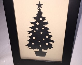 Printed Christmas Tree Picture and Frame