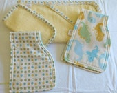 Towel/Washcloth and 2 Burp Cloth Set in Yellow and Dinosaurs - Baby BoyThemed