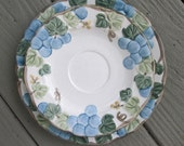 Three Vintage Plates - Poppy Trail by Metlox -  Blue Sculptured Grape