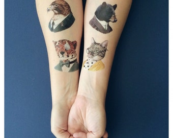 Temporary Tattoos - Ryan Berkley Animal Art Tattoos - Tattly - Animal Portraits - Animals in Suits - Berkley Illustration - Otter - Cheetah