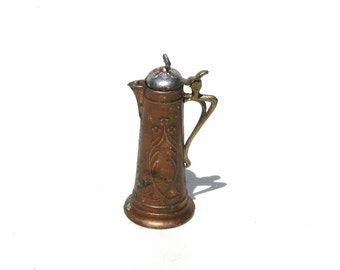 Antique Stein Art Nouveau Pitcher German Soft Metal Ewer Circa 1910 Large Scale Miniature for Dollhouse