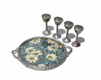 Pewter Tray & Goblets 1920s Dollhouse Tynietoy Accessory Gerlach Soft Metal Miniatures