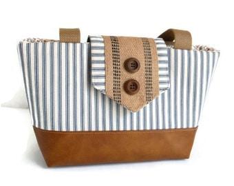 Seaside Wayfarer Purse - Ticking Stripe - Shoulder Bag - Nautical - Blue and Cream