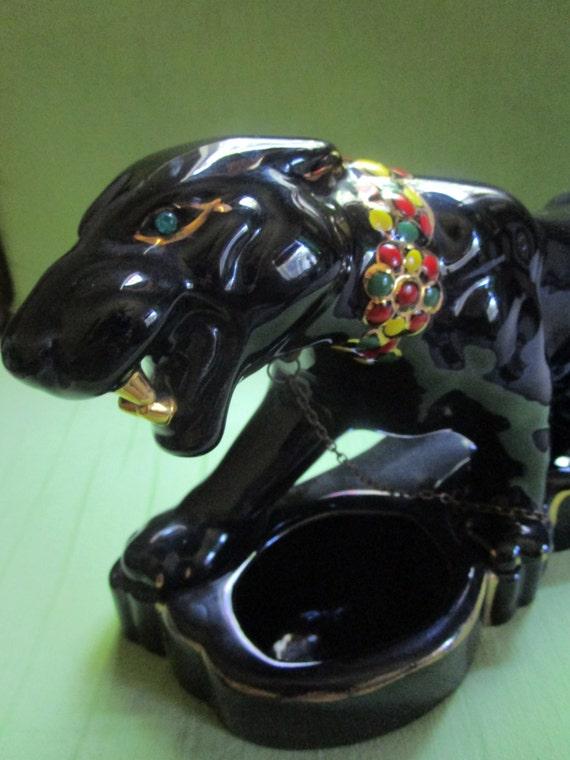 Growling Black Ceramic Mcm Panther Tv Planter Gold Teeth