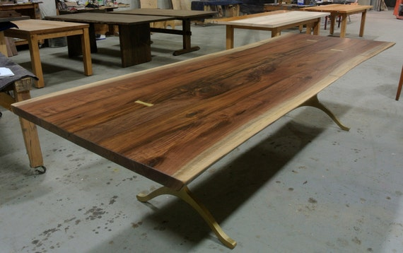 custom walnut live edge table on wishbone legs
