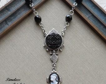 HaleyRose, Antique Glass Button Necklace
