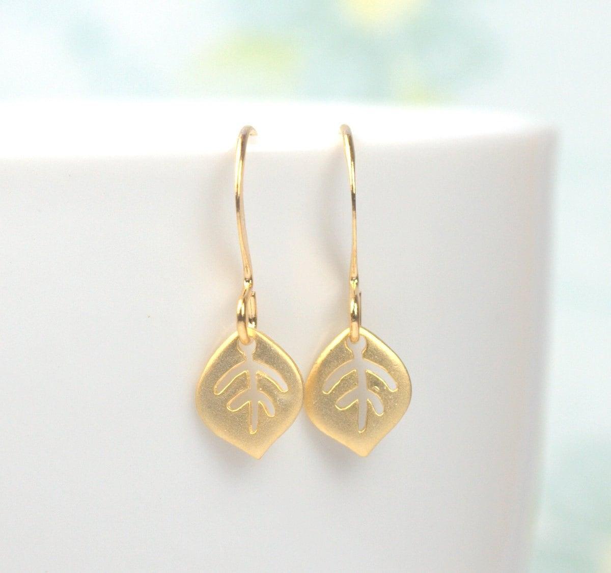Tiny Gold Leaf Dangle Earrings Gold Earrings Small Drop