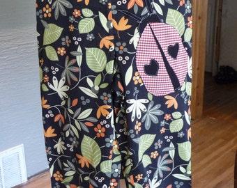 Unique Pants, Upcycled Pants, Misses Capris, Refashion Clothing, Recycled Clothing, Flowered Pants, Ladybug, Large Applique, Handmade,Zipper