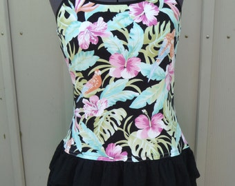 Upcycled Shirt, Stretchy Shirt, Pullover Shirt, Black Ruffles, Built In Bra, Adjustable Straps, Unique Clothing, Parrots, Hibiscus Flowers