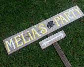 Graduation Sign, Fun Party Signs. This Way Arrow Sign, Rustic Wood Signs, Bright Colored Birthday Sign, Kids Name sign, Backyard party signs