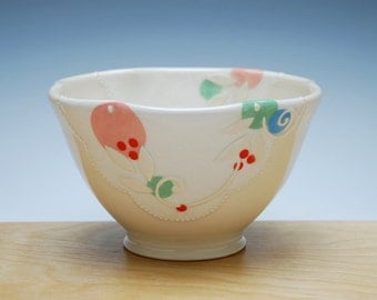 Ivory Bowl w. Polka Dots in Pink, lime green, sky blue & red, Serving / dinnerware