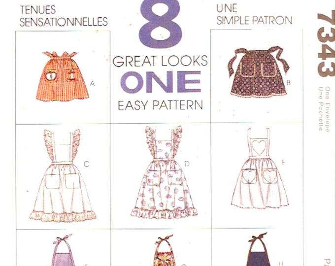 Apron sewing pattern half full or craft apron vintage 90s pattern McCalls 7343 crafts pattern Uncut