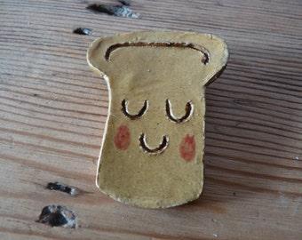Ceramic Toast Brooch