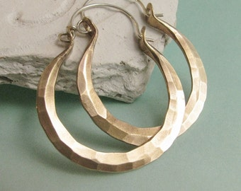 Hammered Brass Hoops, Sterling Silver And Brass Earrings, Mixed Metal Hoops, Metalsmithed Hoop Earrings, Brass Hoops, Forged Earrings